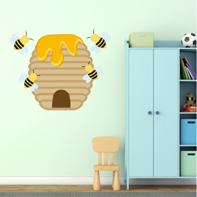 Adesivo Murale bambino arnia ape