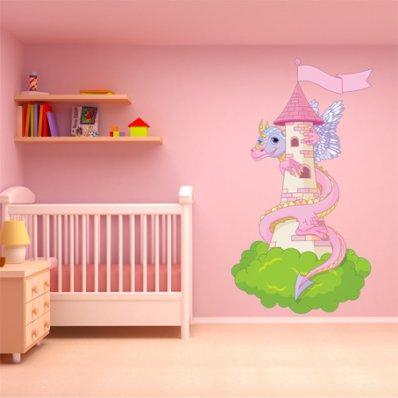 Adesivo Murale bambino castello drago