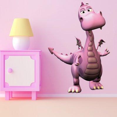 Adesivo Murale bambino drago rosa