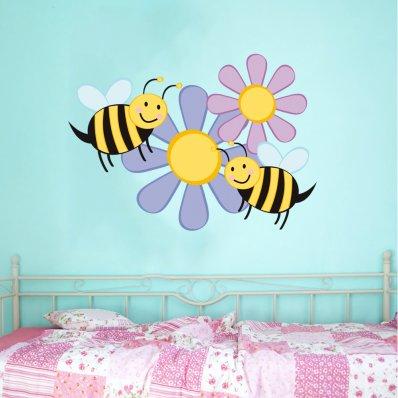 Adesivo Murale bambino fiori api