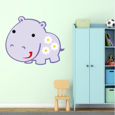 Adesivo Murale bambino ippopotamo