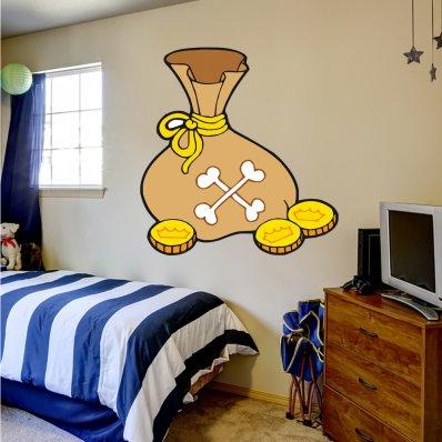 Adesivo Murale bambino monete d'oro