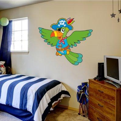 Adesivo Murale bambino pappagallo pirata