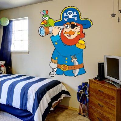 Adesivo Murale bambino pirata cannochiale
