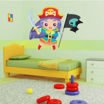 Adesivo Murale bambino ragazza pirata