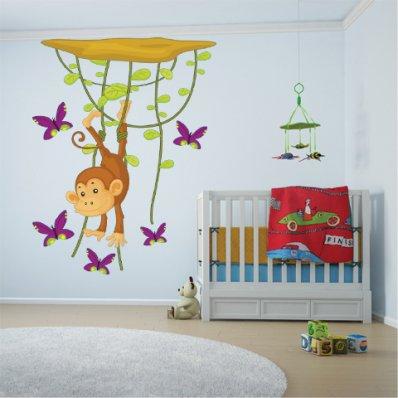 Adesivo Murale bambino scimmia farfalle