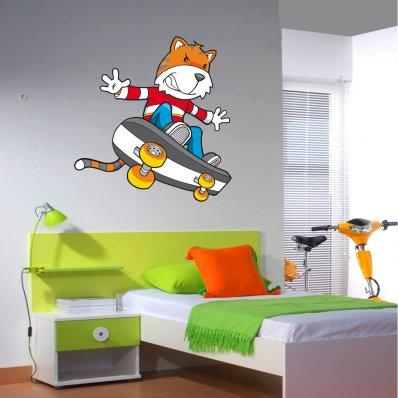 Adesivo Murale bambino volpe skate board