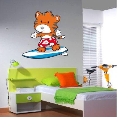 Adesivo Murale bambino volpe surf