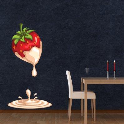Adesivo Murale fragola cioccolato bianco