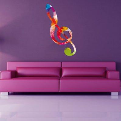 Adesivo Murale nota musicale multicolore