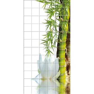 Adesivo per piastrelle fiore bambù
