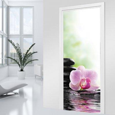 Adesivo per porte - orchidea Zen