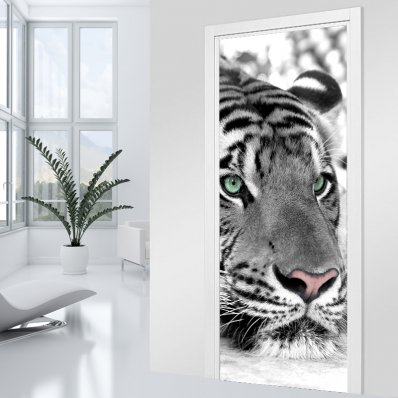 Adesivo per porte - Tigre black & white