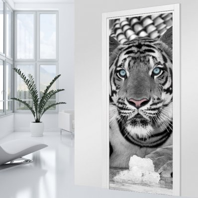 Adesivo per porte Tigre black & white