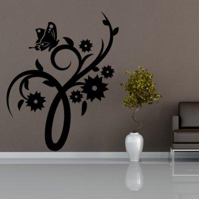 Autocolante decorativo flores com  borboleta