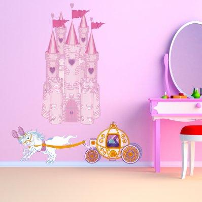Autocolante decorativo infantil Princesa carro