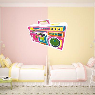 Autocolante decorativo rádio multicolorida
