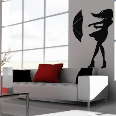 Autocolante decorativo Umbrella menina