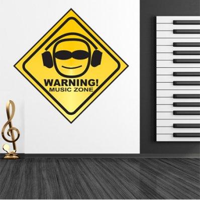 Autocolante decorativo warning música