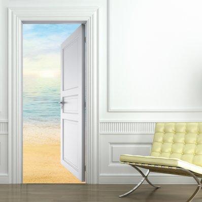 Autocolante para porta praia