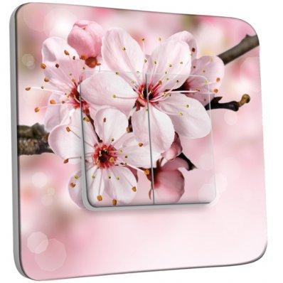 Interrupteur Décoré Double va et vient Fleur de cerisier Zoom