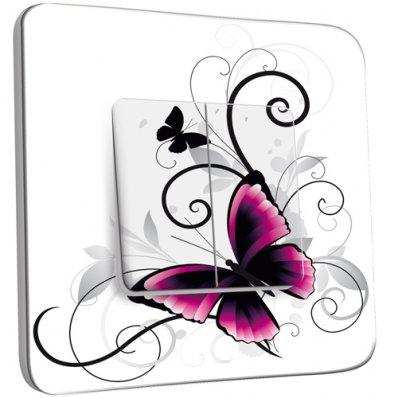 Interrupteur Décoré double va et vient  Papillon design white