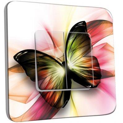 Interrupteur Décoré Double va et vient  Papillons Abstrait Zoom