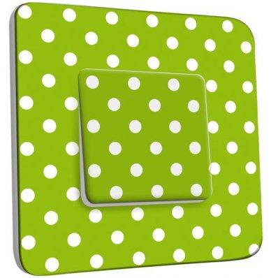 interrupteur d cor poussoir petits pois blancs fond vert pas cher. Black Bedroom Furniture Sets. Home Design Ideas