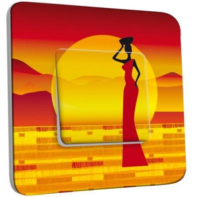 Interrupteur Décoré Simple Motif Africain Design Couché de Soleil