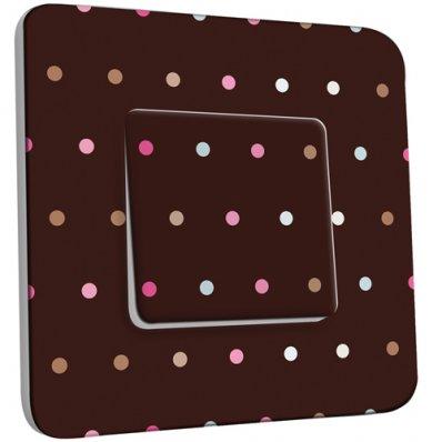Interrupteur Décoré Simple Petits Pois Colorés Fond Chocolat