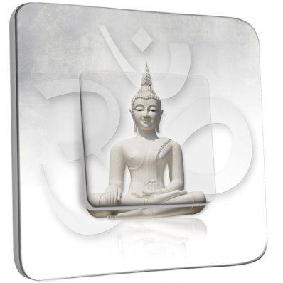 Interrupteur Décoré Simple Bouddha Zen Blanc