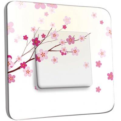 Interrupteur Décoré Simple Branche de Fleurs Roses