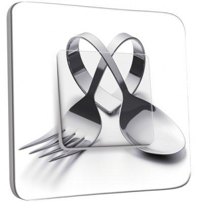 Interrupteur Décoré Simple  Cuisine Couverts en Coeur