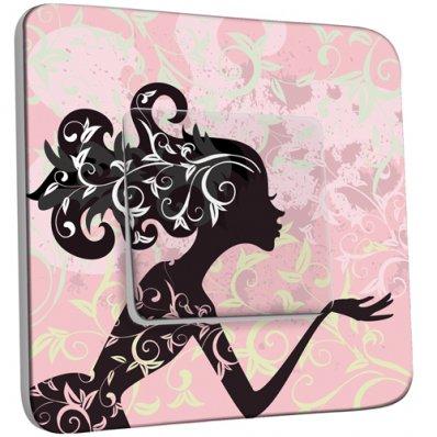 Interrupteur Décoré Simple Femme en Fleurs Design 3