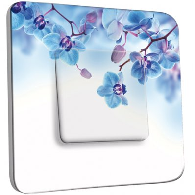 Interrupteur Décoré Simple Fleurs bleus Fond Blanc