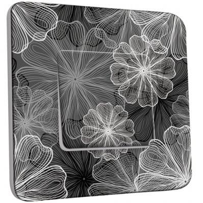 Interrupteur Décoré Simple Fleurs design Black&White 3