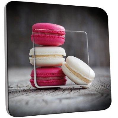 Interrupteur Décoré Simple Macarons Blancs/Fushia