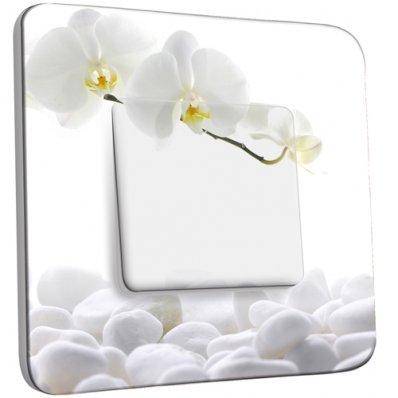 Interrupteur Décoré Simple Orchidéés Blanches
