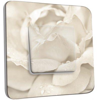 Interrupteur Décoré Simple Pétales de Fleurs Blanc Zoom