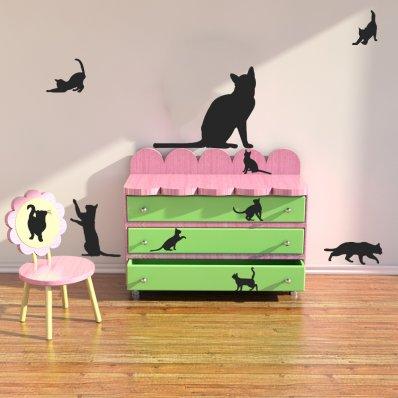 Kit Autocolante decorativo  14 gatos