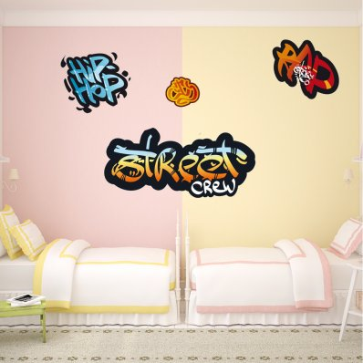 Kit Autocolante decorativo  4 graffitis