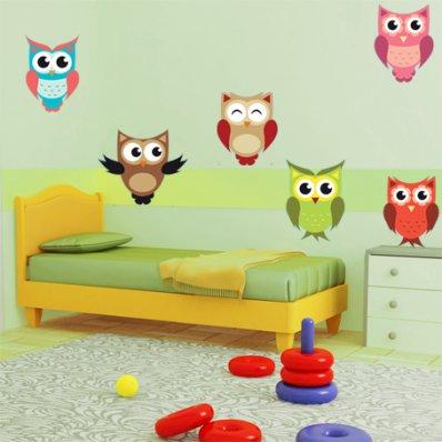 Kit Autocolante decorativo infantil 9 corujass
