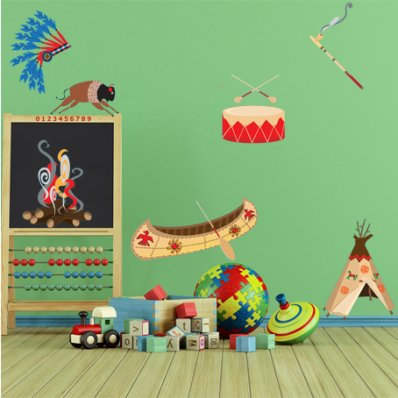 Kit Autocolante decorativo infantil indiano
