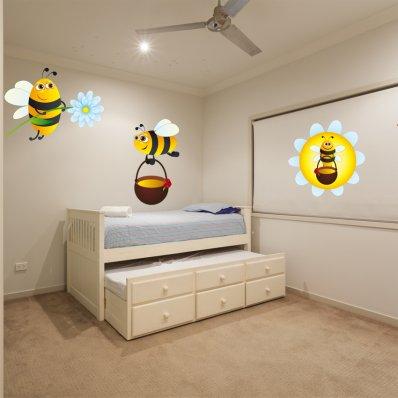 Autocollant Stickers enfant kit 3 abeilles