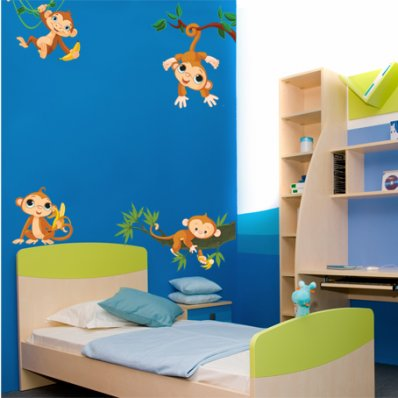 Autocollant Stickers enfant kit 4 singes