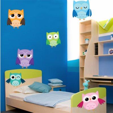 Autocollant Stickers enfant kit 6 hiboux