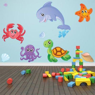 Autocollant Stickers enfant kit 5 animaux de mers