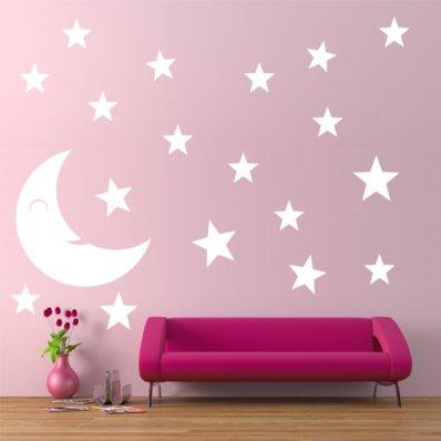 Kit Vinilo decorativo  19 lunas estrellas