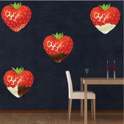 Kit Vinilo decorativo 4 fresas con chocolate
