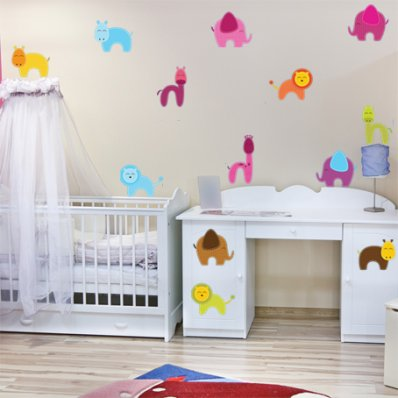Kit Vinilo decorativo infantil 16 animales